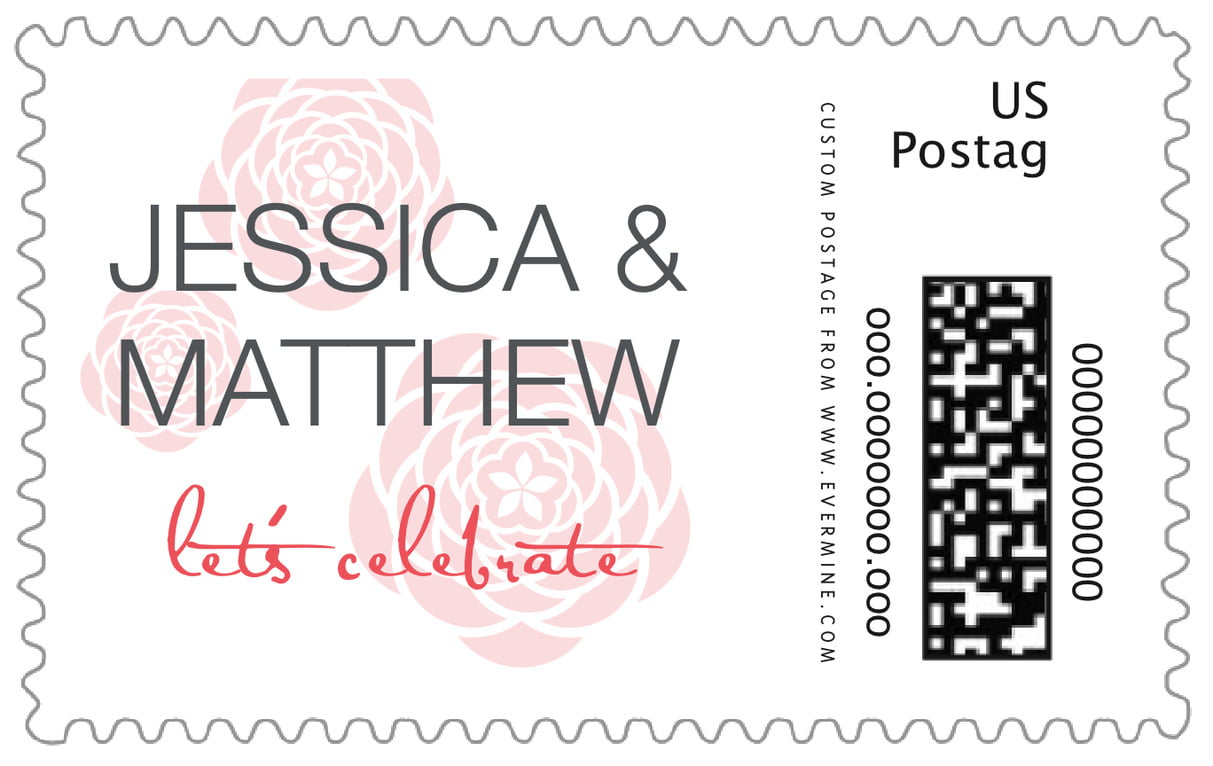 custom large postage stamps - deep coral - bouquet (set of 20)
