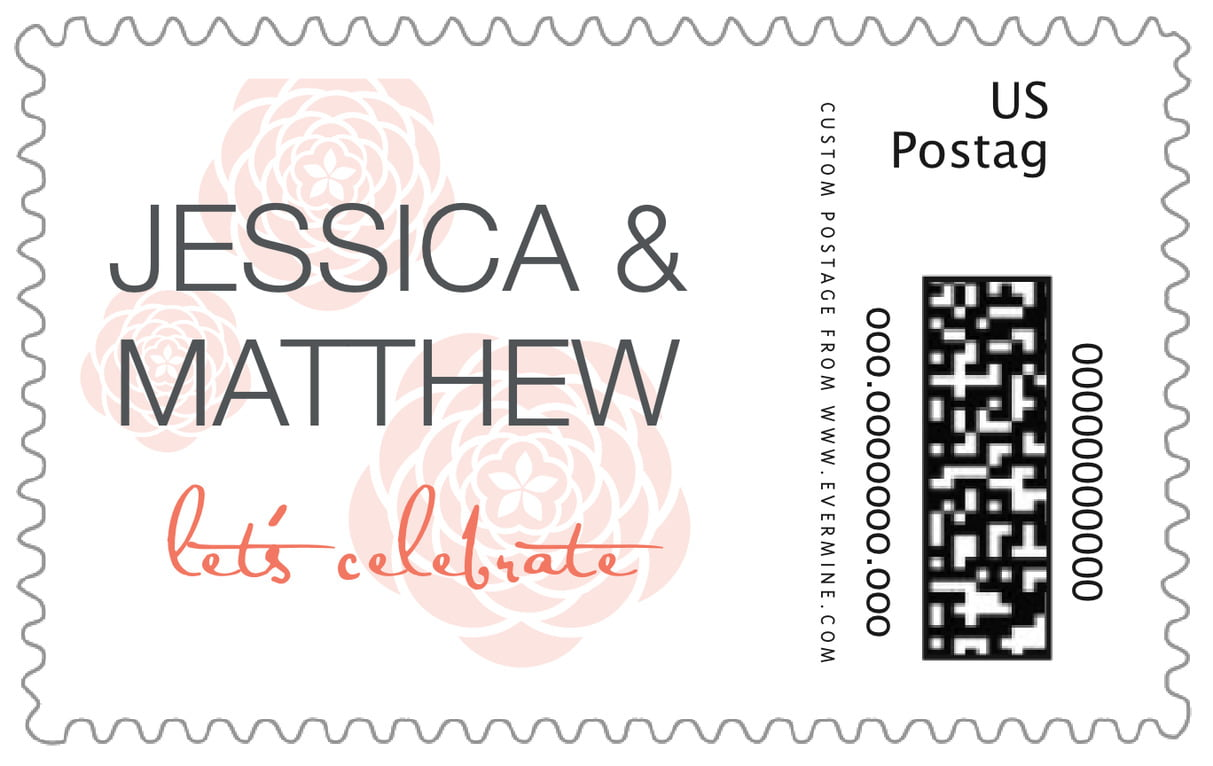 custom large postage stamps - coral - bouquet (set of 20)
