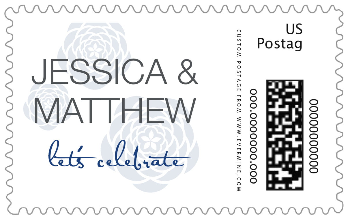 custom large postage stamps - deep blue - bouquet (set of 20)