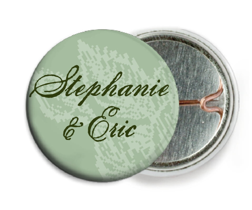 custom pin back buttons - sage - briar rose (set of 6)