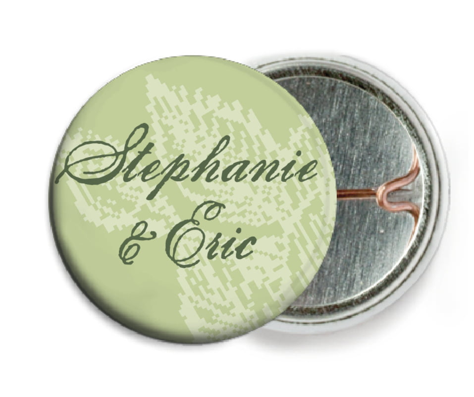 custom pin back buttons - green tea - briar rose (set of 6)