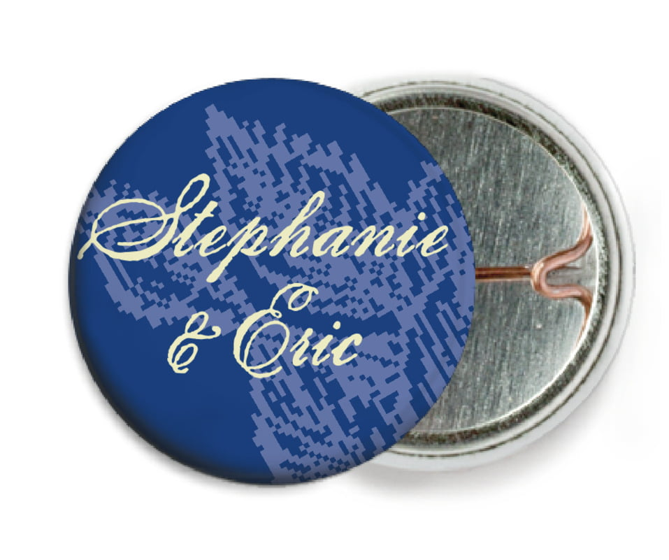 custom pin back buttons - deep blue - briar rose (set of 6)