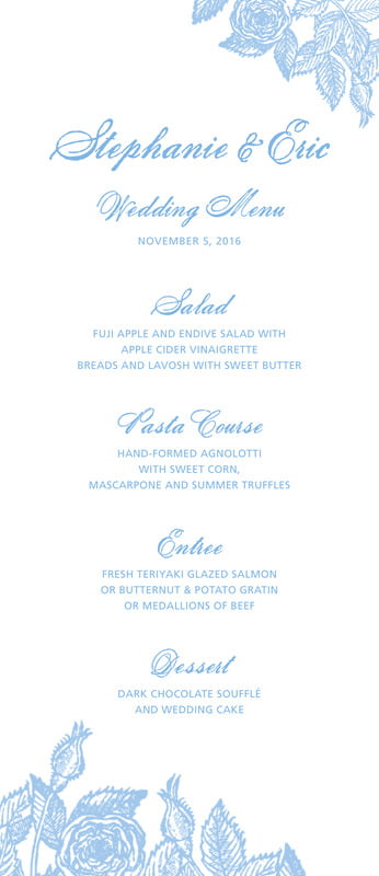 custom menus - blue - briar rose (set of 10)