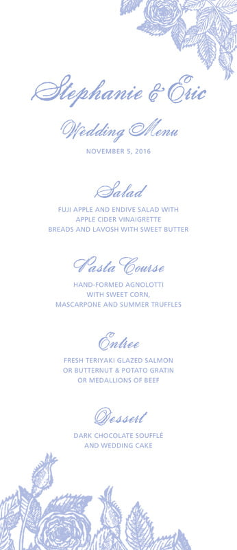 custom menus - periwinkle - briar rose (set of 10)