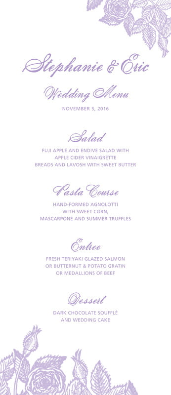 custom menus - lilac - briar rose (set of 10)