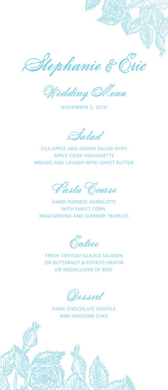 custom menus - aruba - briar rose (set of 10)