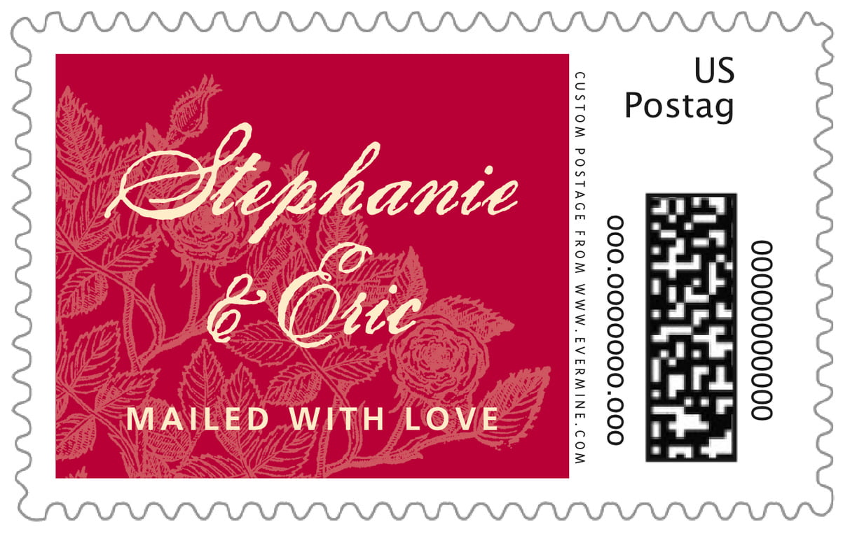 custom large postage stamps - deep red - briar rose (set of 20)