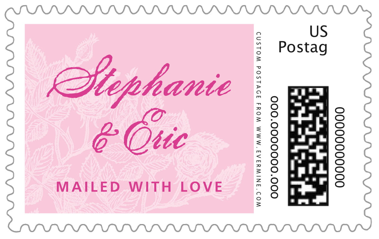 custom large postage stamps - pale pink - briar rose (set of 20)