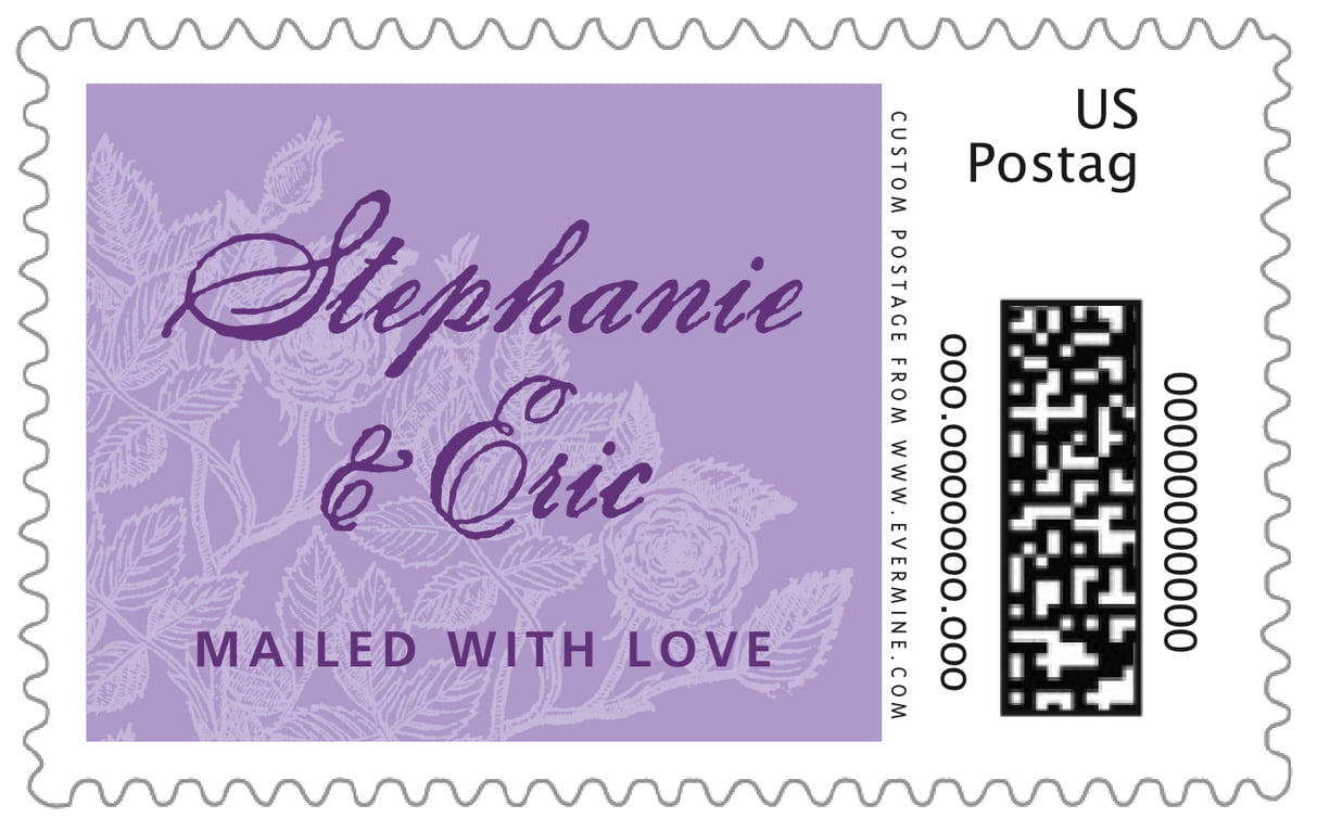 custom large postage stamps - lilac - briar rose (set of 20)