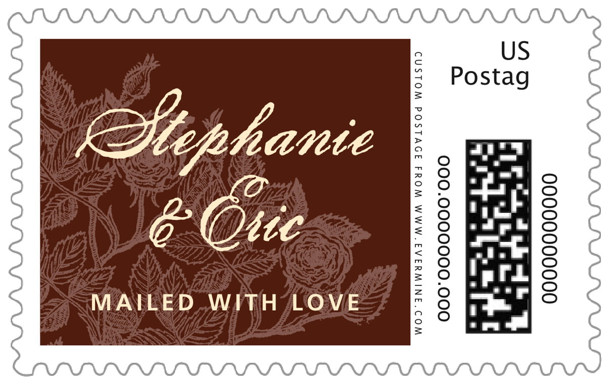 custom large postage stamps - chocolate - briar rose (set of 20)