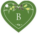 Botanical Monogram heart hang tags
