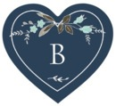 Botanical Monogram heart labels