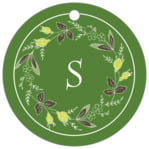 Botanical Monogram circle hang tags