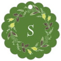 Botanical Monogram scallop hang tags