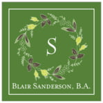 Botanical Monogram square labels