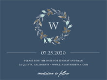 custom save-the-date cards - deep blue - botanical monogram (set of 10)