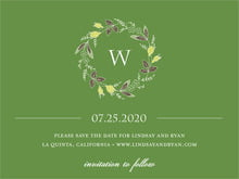 custom save-the-date cards - deep green - botanical monogram (set of 10)