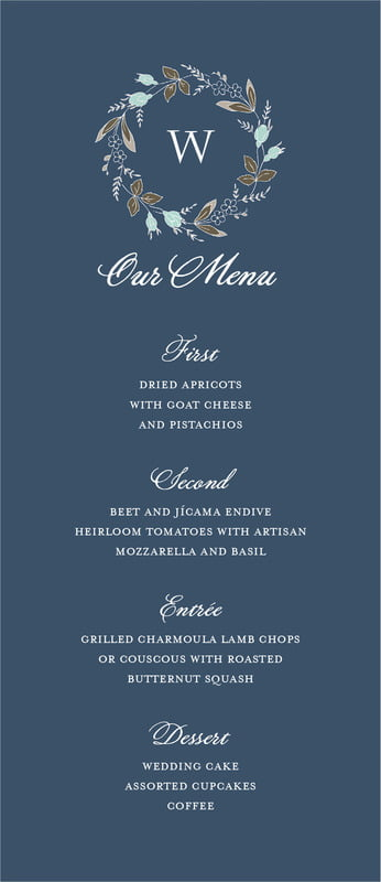 custom menus - deep blue - botanical monogram (set of 10)