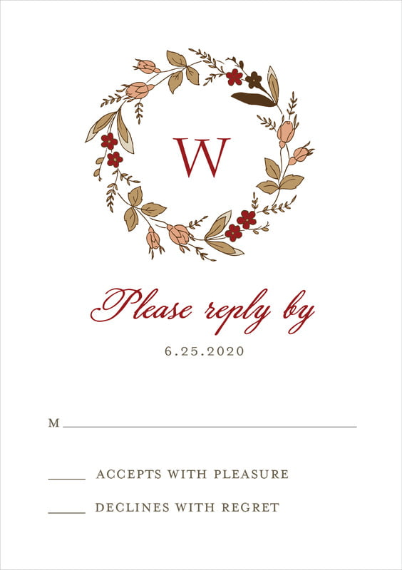 custom tall response cards - deep red - botanical monogram (set of 10)