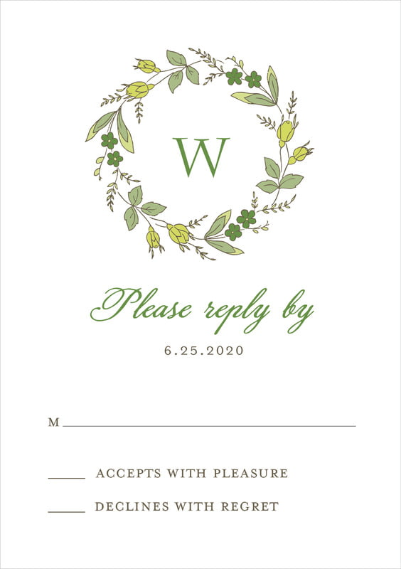 custom tall response cards - deep green - botanical monogram (set of 10)