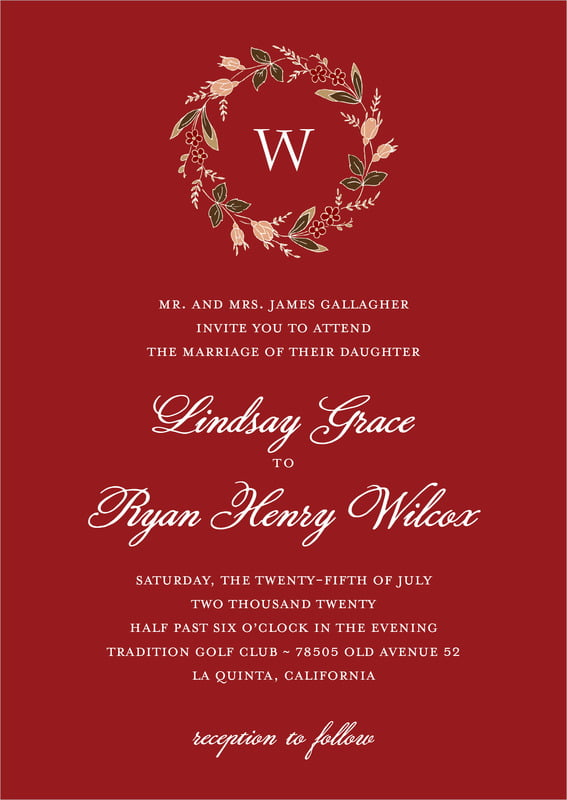 custom invitations - deep red - botanical monogram (set of 10)