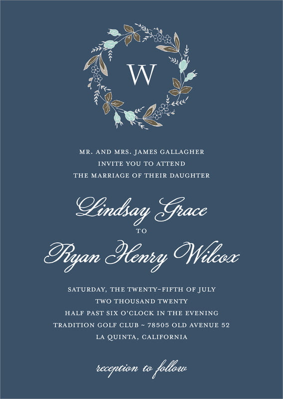 custom invitations - deep blue - botanical monogram (set of 10)