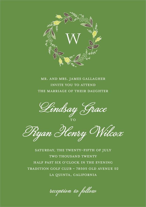 custom invitations - deep green - botanical monogram (set of 10)
