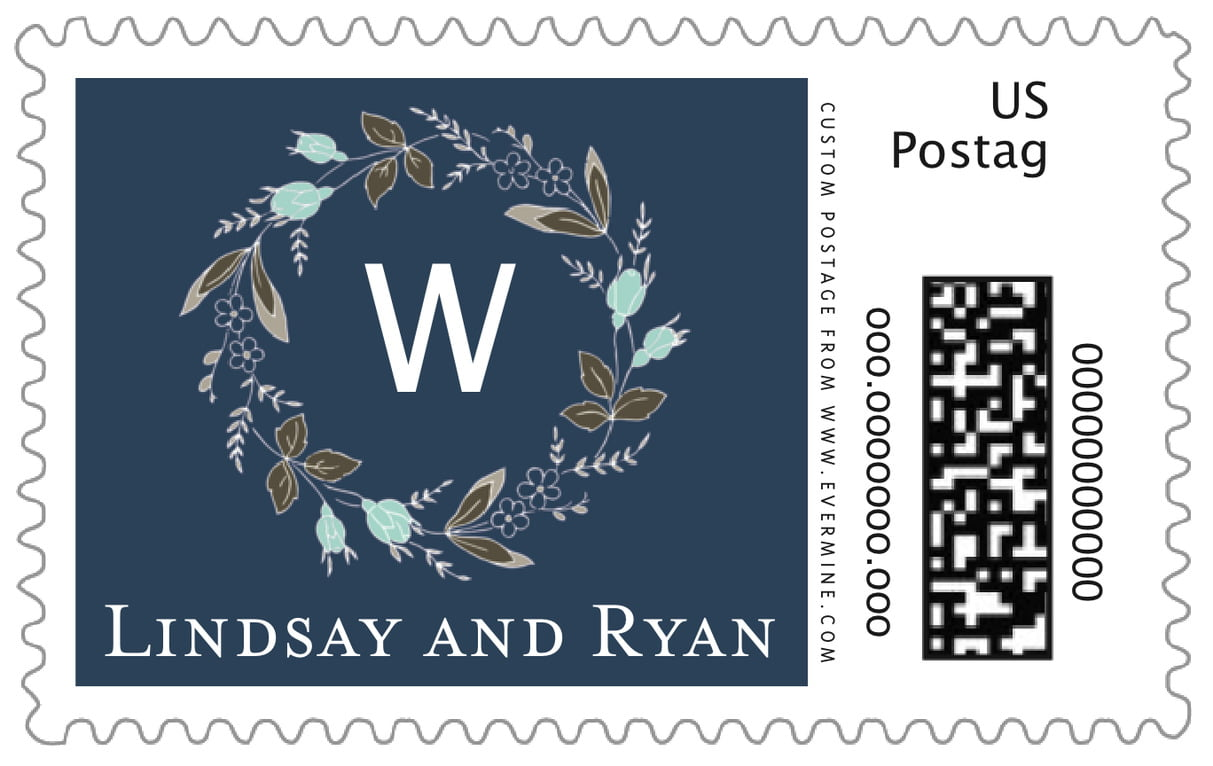 custom large postage stamps - deep blue - botanical monogram (set of 20)