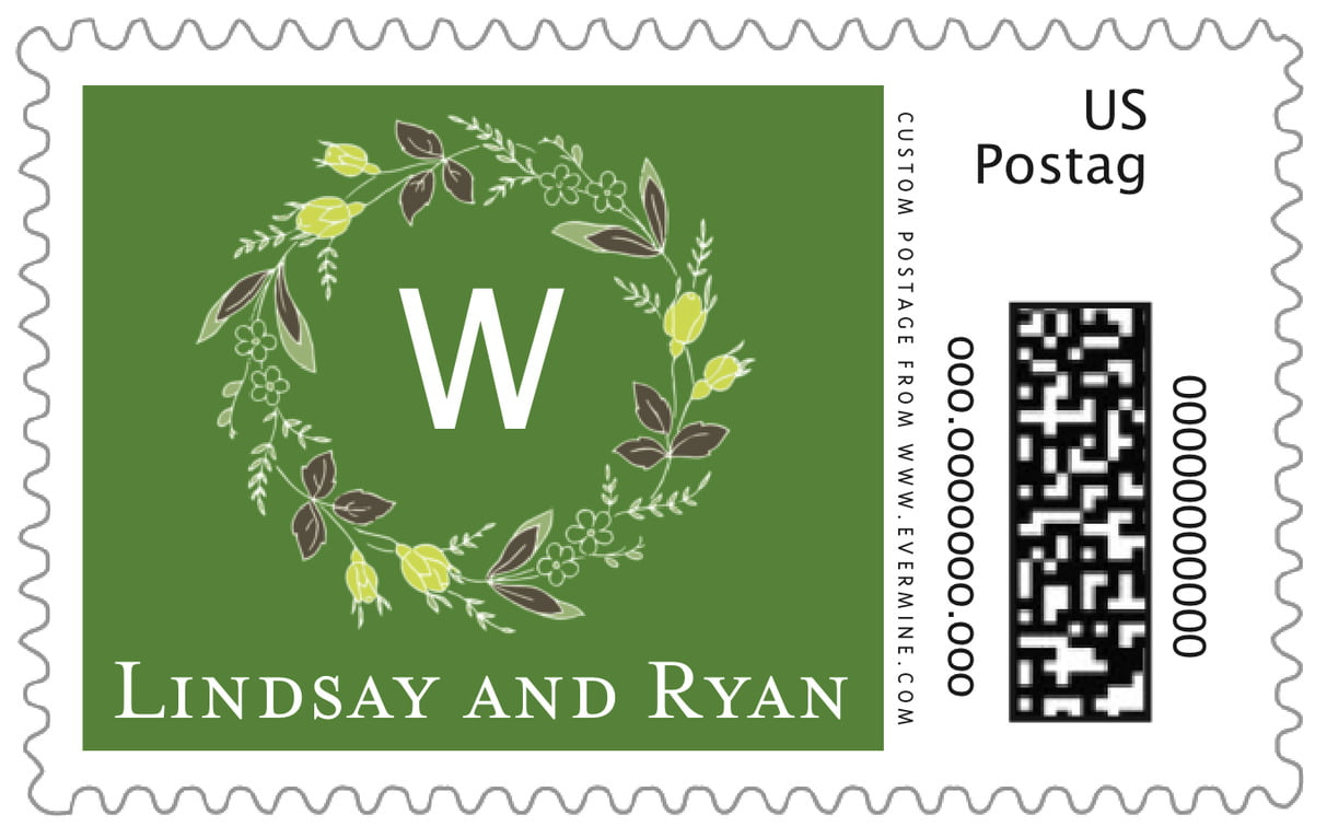 custom large postage stamps - deep green - botanical monogram (set of 20)