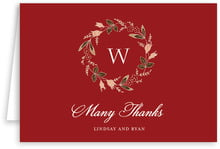 Botanical Monogram Folding Card In Deep Red