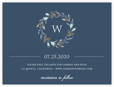 Botanical Monogram save the date cards