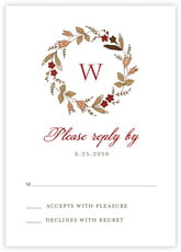 Botanical Monogram Response Card In Deep Red