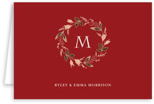 Botanical Monogram Folding Stationery Card In Deep Red