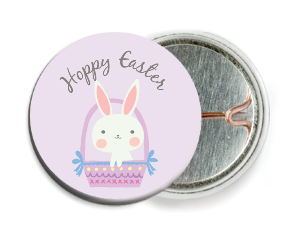 custom pin back buttons - lilac - bunny (set of 6)