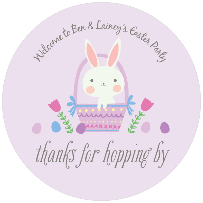 round holiday coasters - lilac - bunny (set of 12)