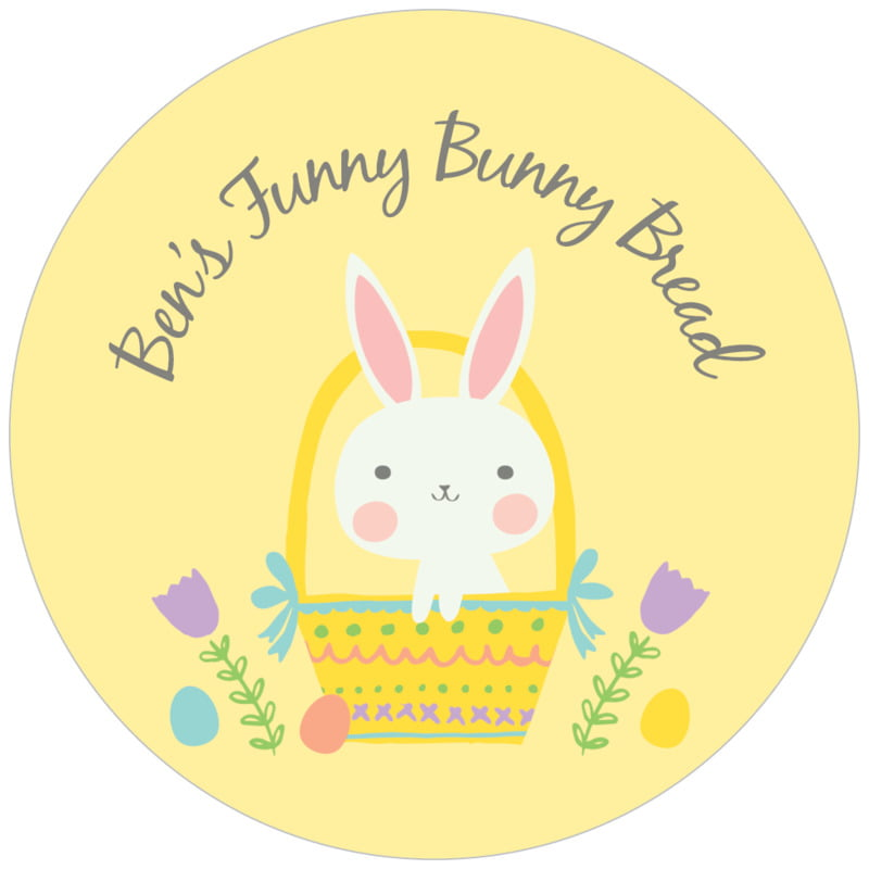 circle food/craft labels - sunburst - bunny (set of 20)