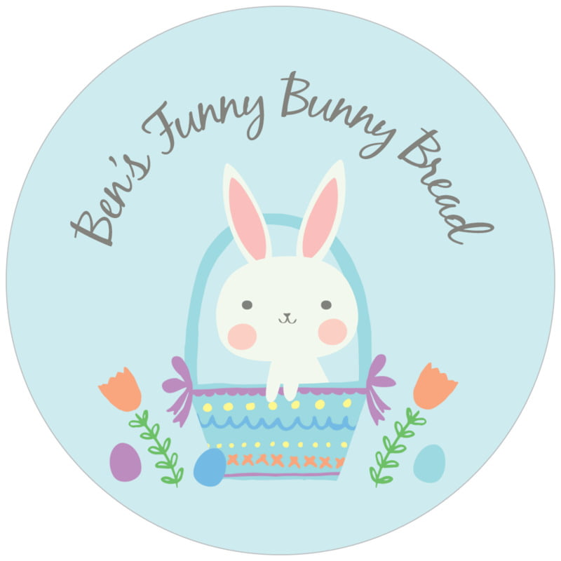 circle food/craft labels - sky - bunny (set of 20)