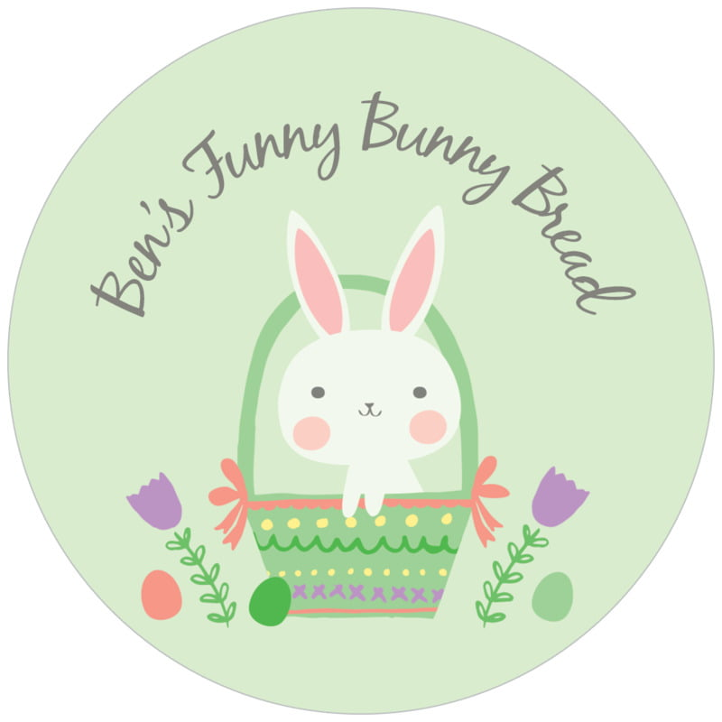 circle food/craft labels - mint - bunny (set of 20)