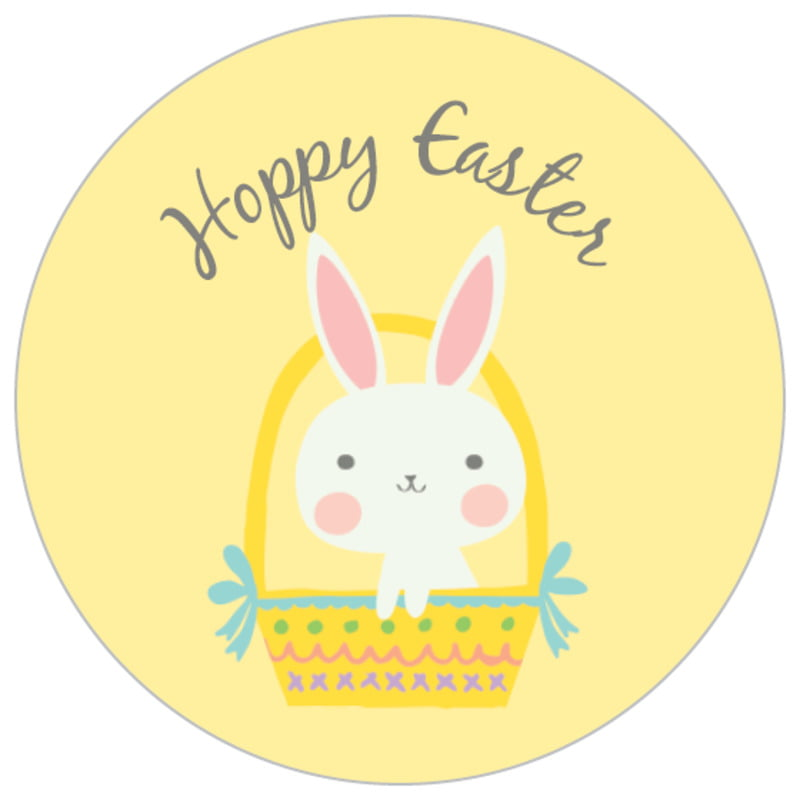 small circle food/craft labels - sunburst - bunny (set of 70)
