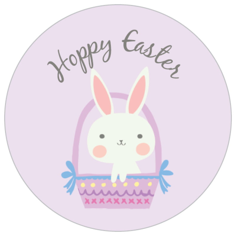 small circle food/craft labels - lilac - bunny (set of 70)