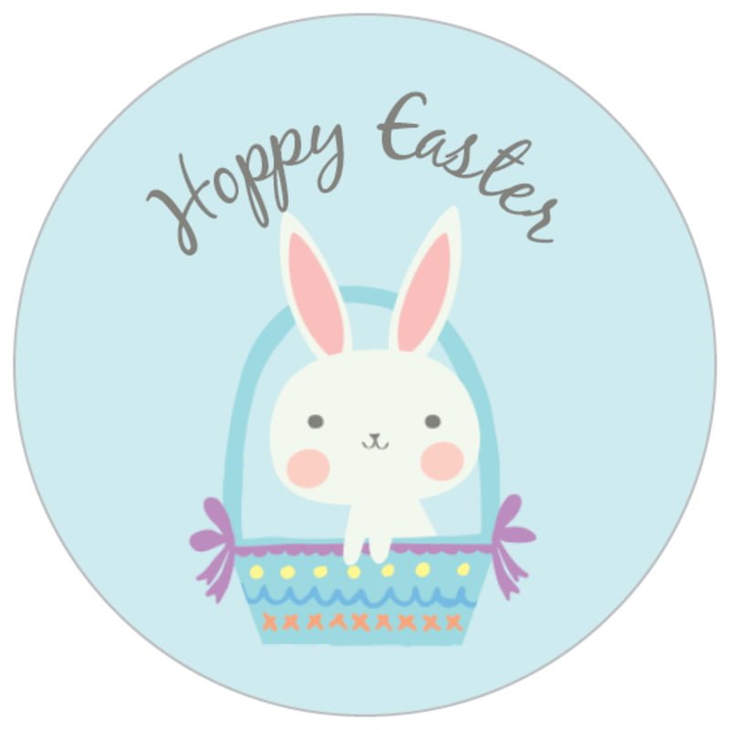 small circle food/craft labels - sky - bunny (set of 70)