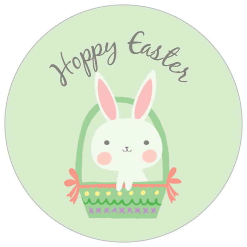 small circle food/craft labels - mint - bunny (set of 70)
