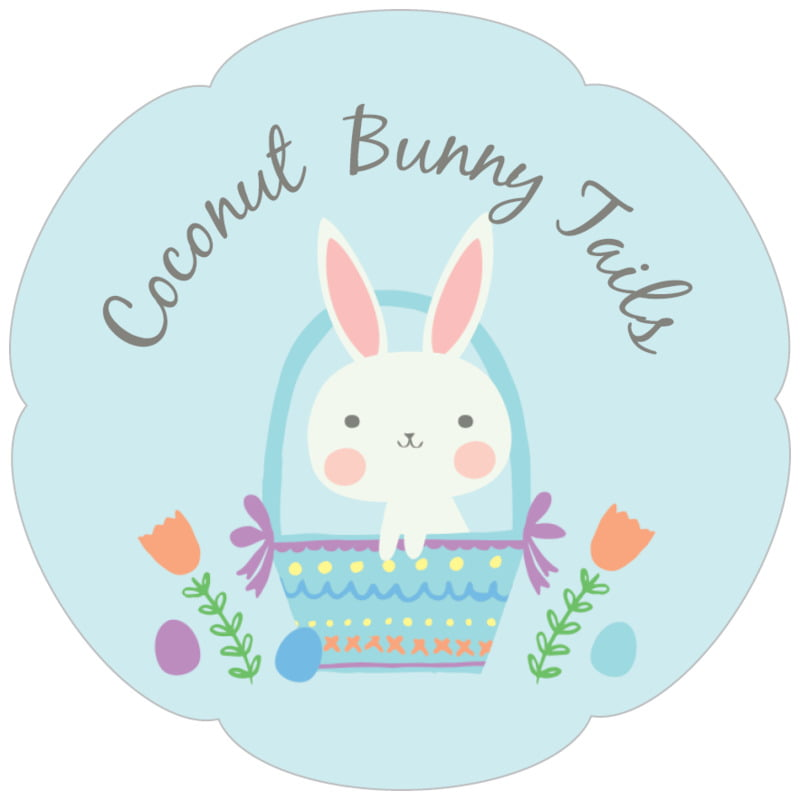 petal food/craft labels - sky - bunny (set of 30)