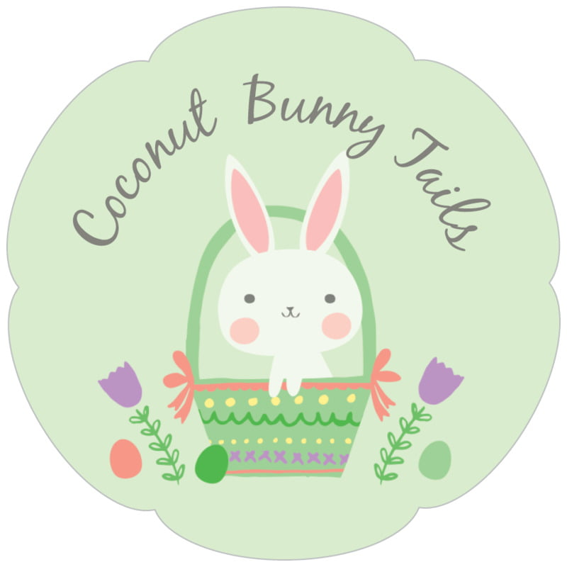 petal food/craft labels - mint - bunny (set of 30)