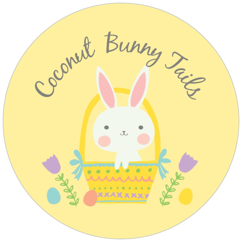 circle food/craft labels - sunburst - bunny (set of 35)