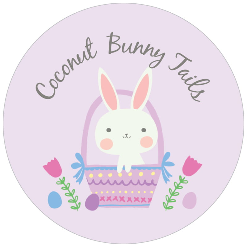circle food/craft labels - lilac - bunny (set of 35)