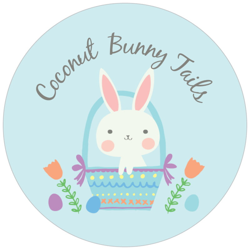 circle food/craft labels - sky - bunny (set of 35)