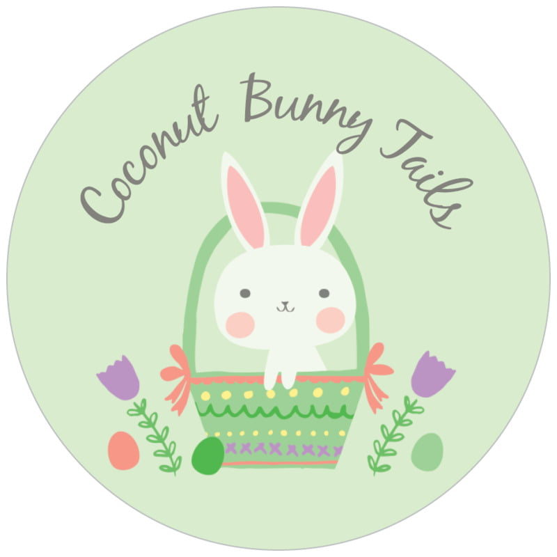 circle food/craft labels - mint - bunny (set of 35)