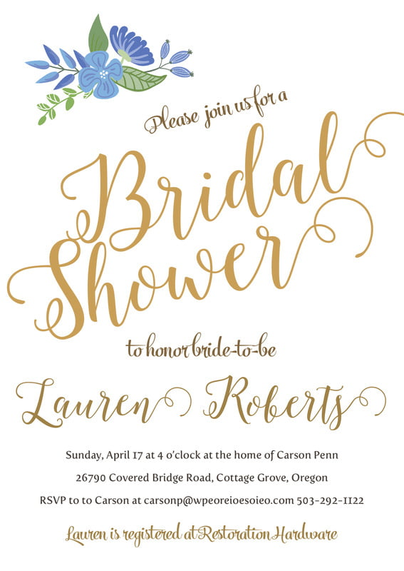 baby shower invitations - periwinkle - bridal bloom (set of 10)