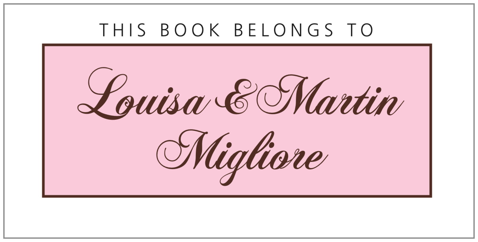 bookplates for everyone - cocoa & pink - bordeaux (set of 24)
